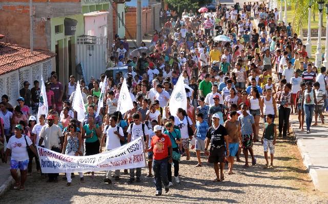Protesto com mineroduto em área de seca